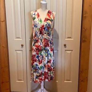 Avenue Stretchy Soft Bright Floral Print Dress